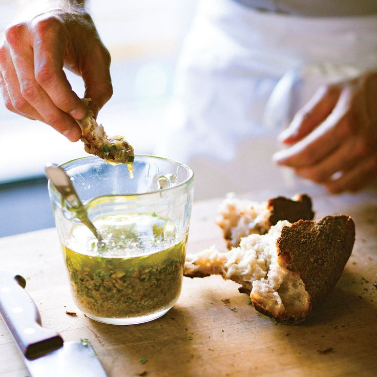 """Chad Robertson of Tartine Bakery in San Francisco loves to dunk pieces of freshly baked bread into the bakery's vinaigrette, made with shallots and herbs. Recipe and image reprinted with permission from """"Tartine Bread,"""" by Chad Robertson, with photographs by Eric Wolfinger."""