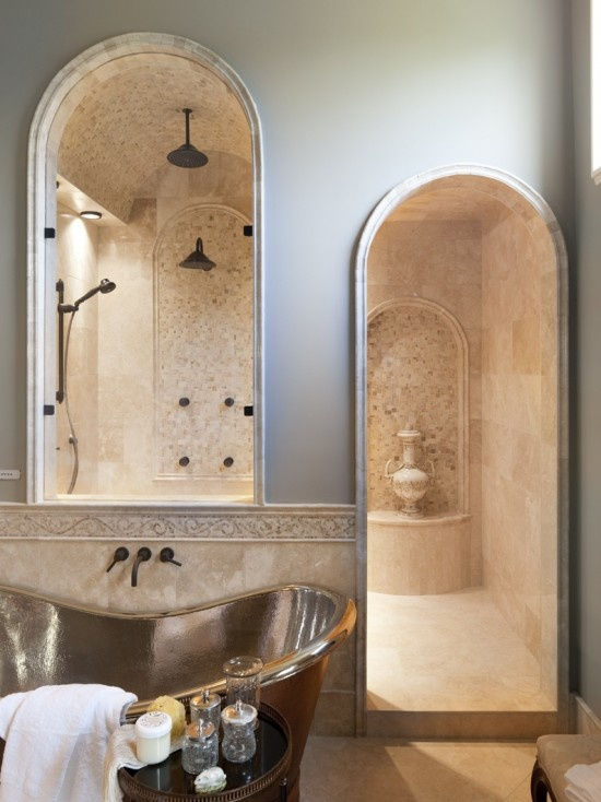 Shower Alcove with Arched windows Christopher Scott Homes