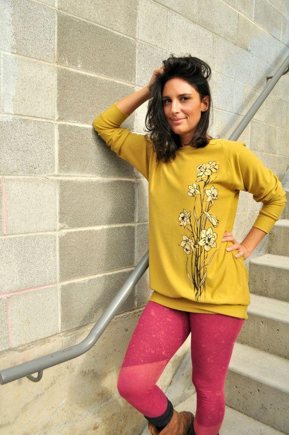 Boyfriend Cut Sweatshirt Mustard Yellow Hand by seaofwolvesdesign