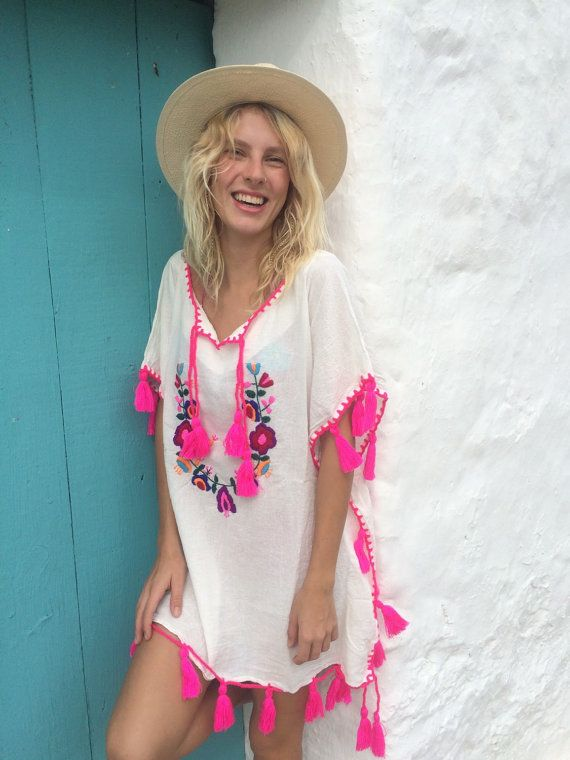 Happy flower power cotton kaftan with multi color by AUROBELLE