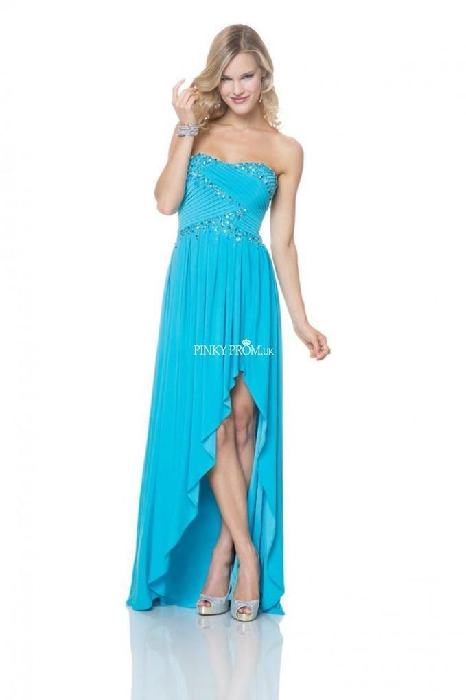 Strapless high low prom dress with beaded sleeveless chiffon - pinkyprom.uk