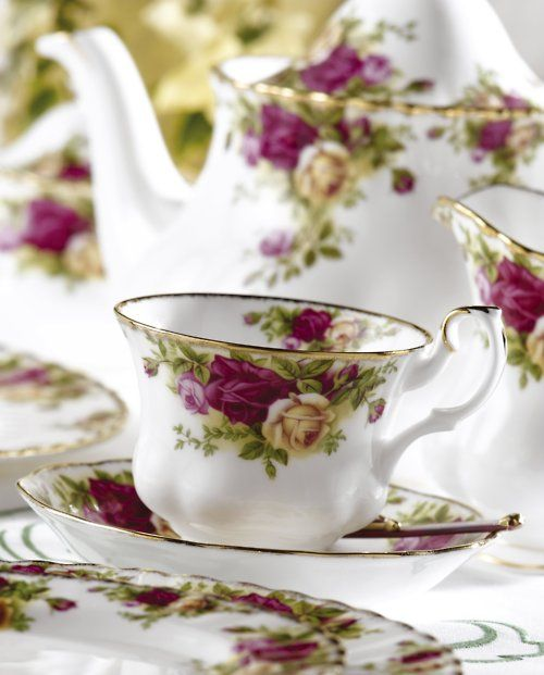rose tea set- I have this set along with a Chintz one in Royal Doulton.