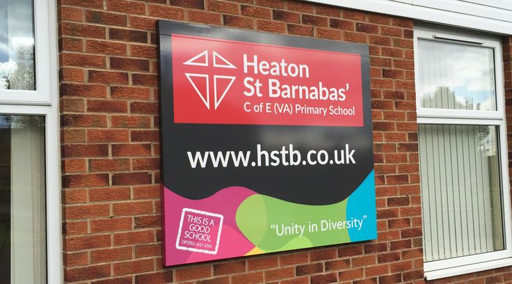 School Signage by Space3 - This 3D sign was designed, manufactured and installed by Space3 at Heaton school in Bradford. We make bespoke school signs to fit each unique space. Get in touch today for a quote! By space3.co.uk