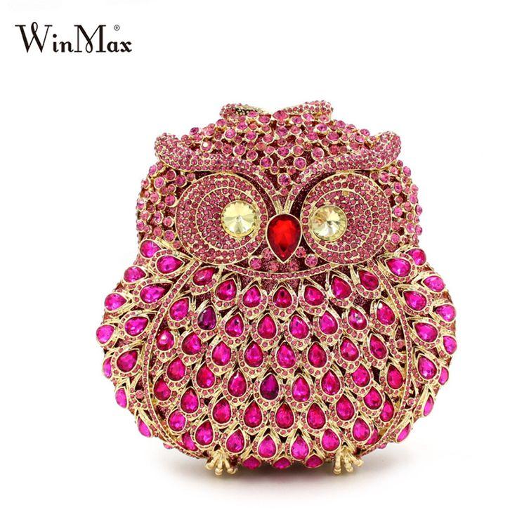 Winmax błyszczące diamenty oczy sowa kształt kobiety olśniewający cltch handmade balu wieczór torba na ramię luksusowe torebki na uroczystości kryształ clutch bag(China (Mainland))