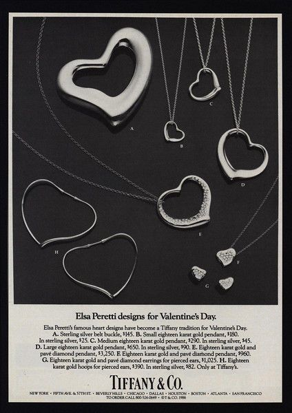 1986 TIFFANY & CO. ELSA PERETTI Heart Design Jewelry - Valentines Day VINTAGE AD