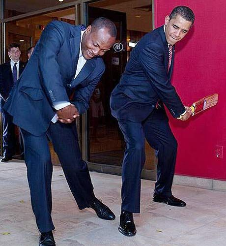 Mr. Brian Charles Lara with US President.
