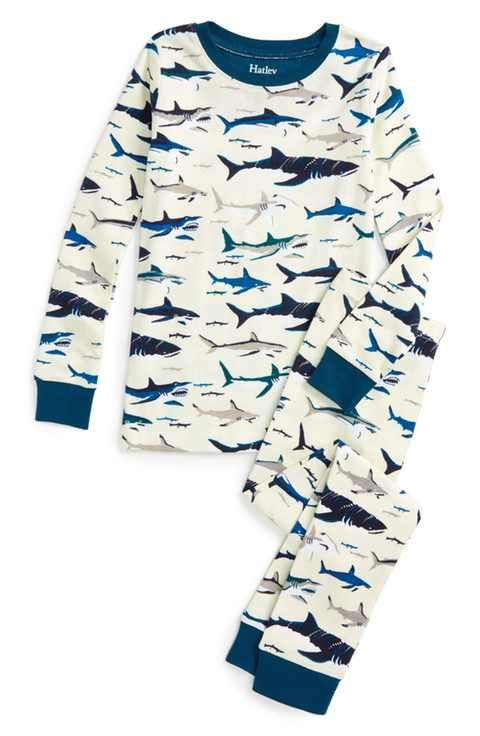 Hatley Toothy Sharks Organic Cotton Fitted Two-Piece Pajamas (Toddler Boys, Little Boys & Big Boys)