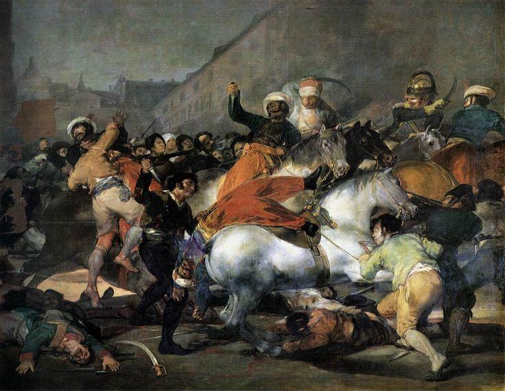 """""""La carga de los mamelucos'' (1808) realizado por Goya en el año 1814, actualmente se encuentra en el Museo del Prado. Esta pintura representa el ataque de las masas populares madrileñas a un grupo de mamelucos, soldados egipcios a las órdenes de los franceses. Este acontecimiento se produjo debido al rumor de una posible traición a manos de los franceses, es decir que los soldados franceses no venían a apoyar al hijo de Carlos IV sino a deponerlo. Derivará en las abdicaciones de ambos…"""