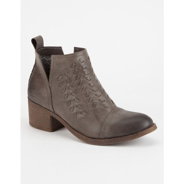 Billabong Cutting Loose Womens Booties ($75) ❤ liked on Polyvore featuring shoes, boots, ankle booties, cut out booties, stacked heel booties, billabong, vegan booties and vegan boots