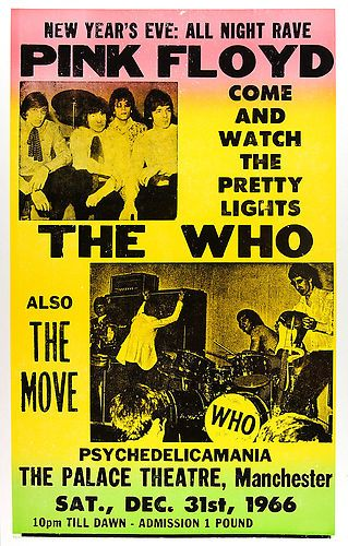 """Pink Floyd The Who The Move 1966 Concert Poster 16"""" x 12"""" Promo Photograph 