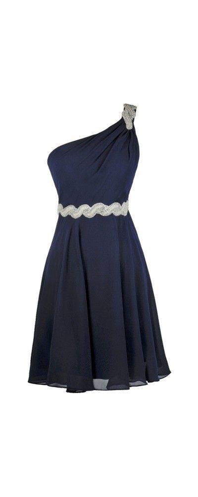Bg510 One Shoulder Prom Dress,Navy Blue Prom Dress,Short
