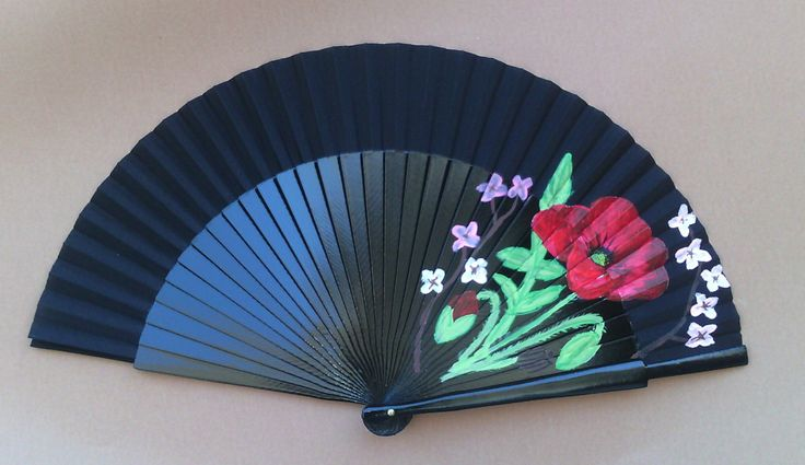 MTO Poppy and Cherry Blossom Hand Handheld Folding Flamenco Spanish Wooden Fan by Kate Dengra Spain by DengraDesigns on Etsy