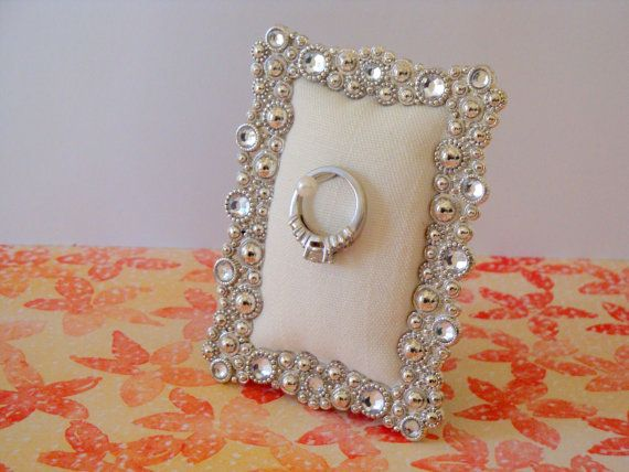 Wedding ring holder rectangle faux diamond & silver frame: engagement ring holder, bridal shower gift, for her, ring stand