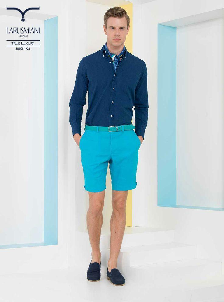 Botton-down denim shirt - Linen bermuda shorts - Silk foulard - Leather belt - Linen/cotton loafers #SS2014 #fashion #style #menswear #luxury #larusmiani www.larusmiani.it