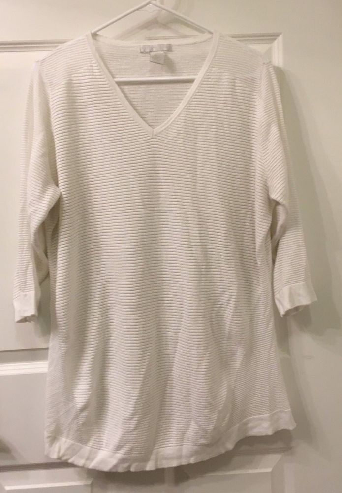 WOMEN S DESIGN HISTORY WHITE V NECK 3 4 SLEEVE STRIPED SHEER SHIRT SIZE 2X   46097589f