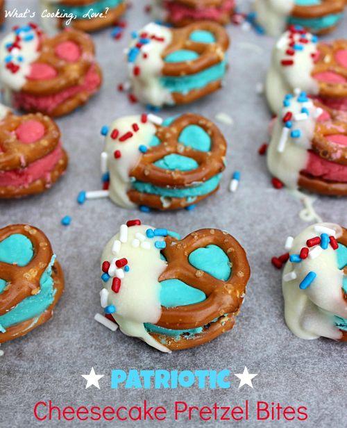 Patriotic Cheesecake Pretzel Bites - Whats Cooking Love?