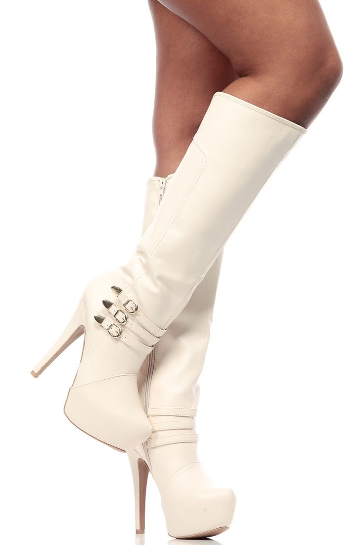 botki biale | Stone Faux Leather Buckle Up Knee High Platform Boots @ Cicihot Boots ...