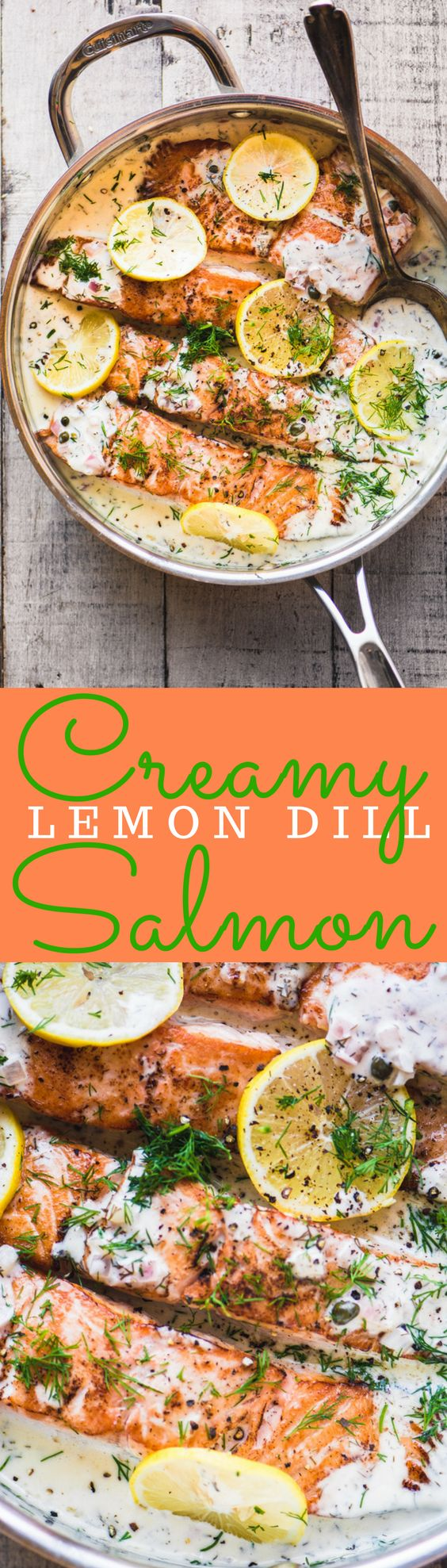 Creamy Lemon Dill Salmon ~ incredible. Used chicken stock instead of wine and lots of finely sliced garlic instead of shallot. Lots of dried dill and added lemon when sauce was off heat to prevent curdling of sauce