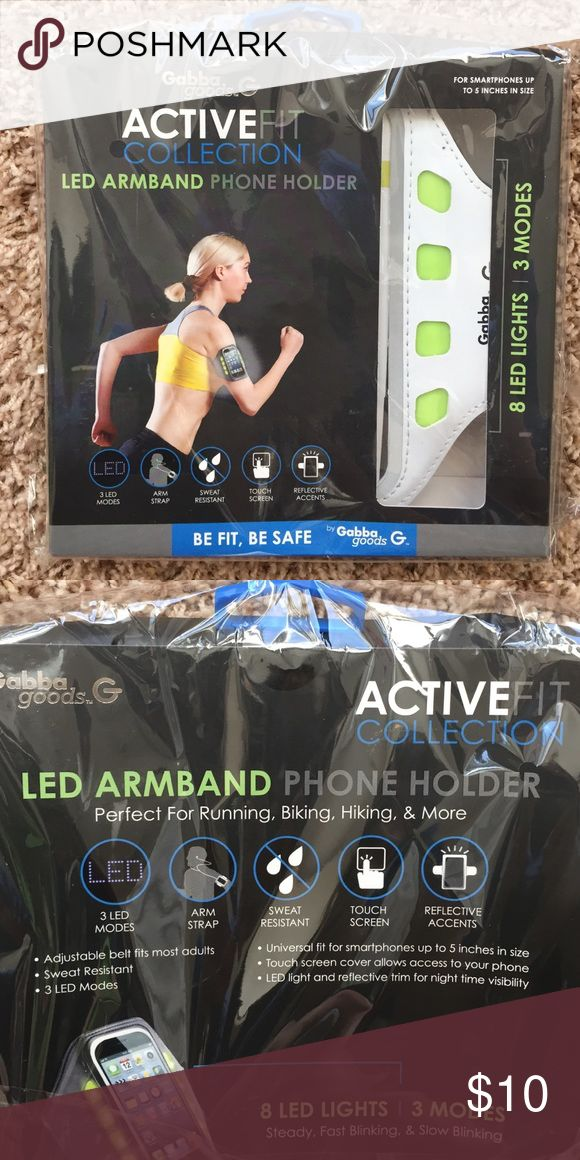 "NEW LED Armband Phone Holder👟💪🏻 NEW IN PACKAGING LED Armband Phone Holder for Smartphones up to 5"" in size. 8 LED Lights, 3 LED modes. Touch Screen Cover. Sweat Resistant with Reflective Accents for Nighttime Visibility. Gabba Goods Accessories Phone Cases"