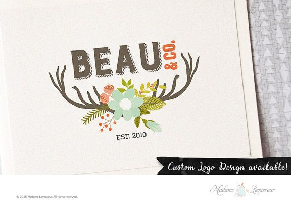 SALE Premade logo design floral rustic logo deer by TheParisWife