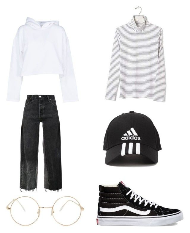 """Untitled #16"" by shanisiavniel on Polyvore featuring RE/DONE, Banana Republic, Golden Goose, Vans, adidas and Forever 21"
