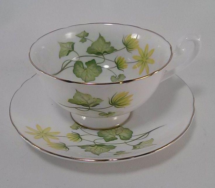 Vintage Shelley Bone China Tea Cup and Saucer Celandine Pattern #Shelley