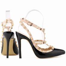 Mode klinknagels schoenen hoge schoenen puntschoen hasp dunne hakken sandalen schoenen rivet puntschoen schoenen vrouwelijke sandalen 302-5 PA(China (Mainland))