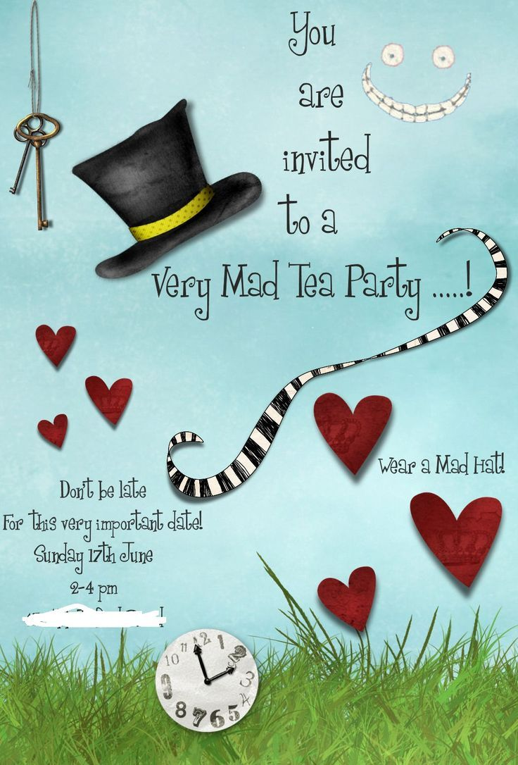 mad hatter teparty invitations pinterest%0A Awesome Mad Hatters Tea Party Invitation Templates design printable for  your party  Excellent Party invitation with text  art  and pictures