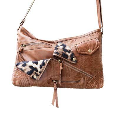 Cadelle Leather Leopard Print Detail Cross Body Handbag