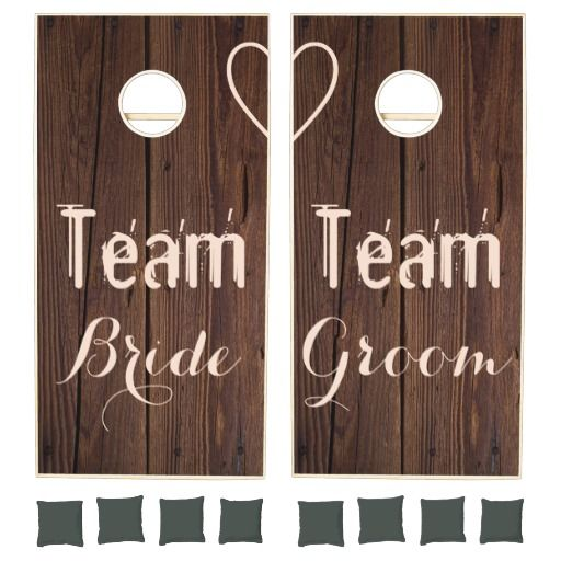 Team Bride Groom Wooden Lawn Game Bridal Rustic Wedding Party Fun #cornhole #beanbagtoss