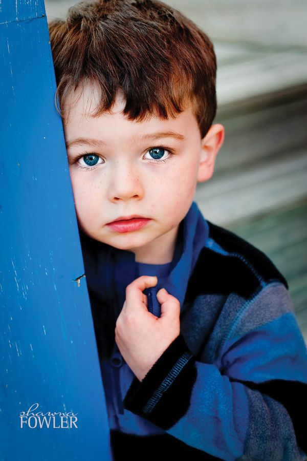 Little boy with blue eyes and brown hair