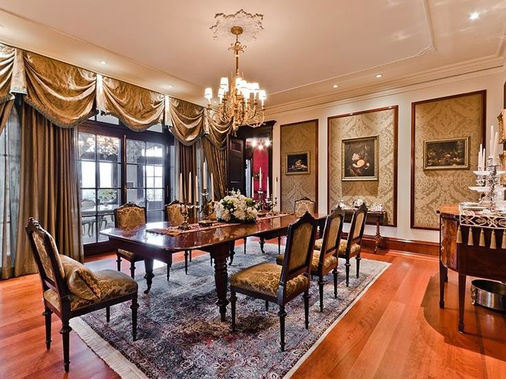 Dining Room, Classic Dining Room Interior Design Ideas With Wood Flooring  And Gold Curtains Also. Classic Dining Room FurnitureLuxury ...  Luxury Dining Room Furniture