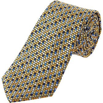 Blue and Orange Spotted Silk Tie