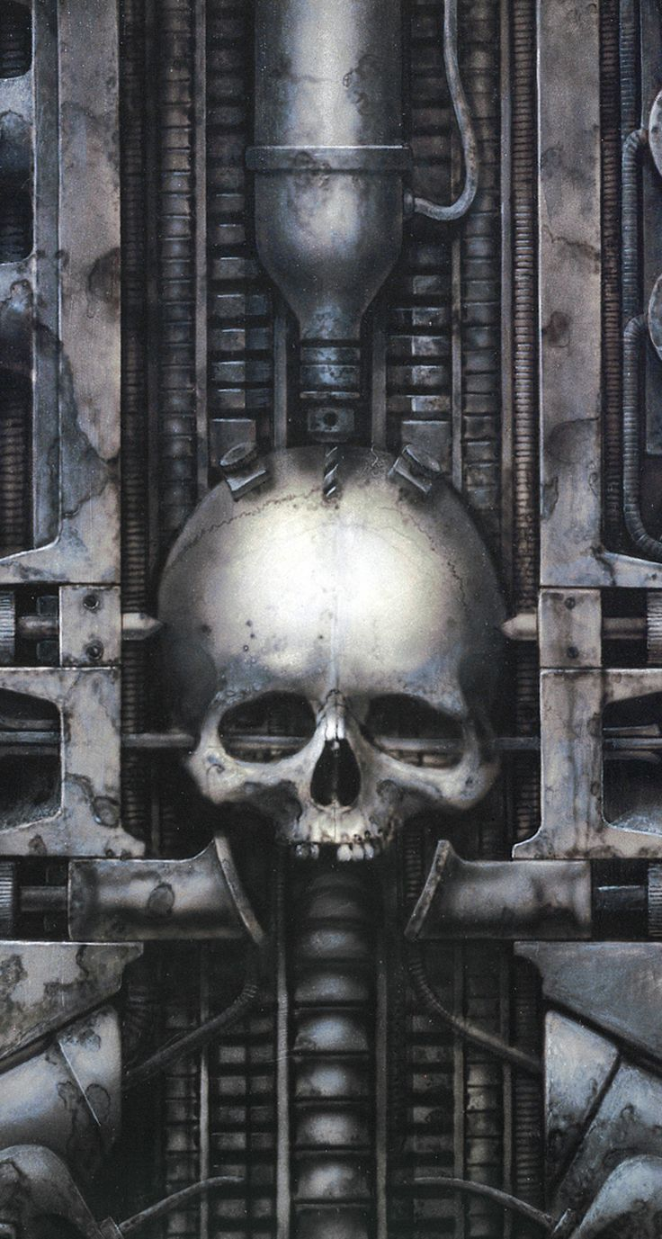 Some of Giger's work such as this one portrays either a human or an xenomorph (or both) positioning into some kind of Egyptian markings. Patterns may be added or positions may differ.