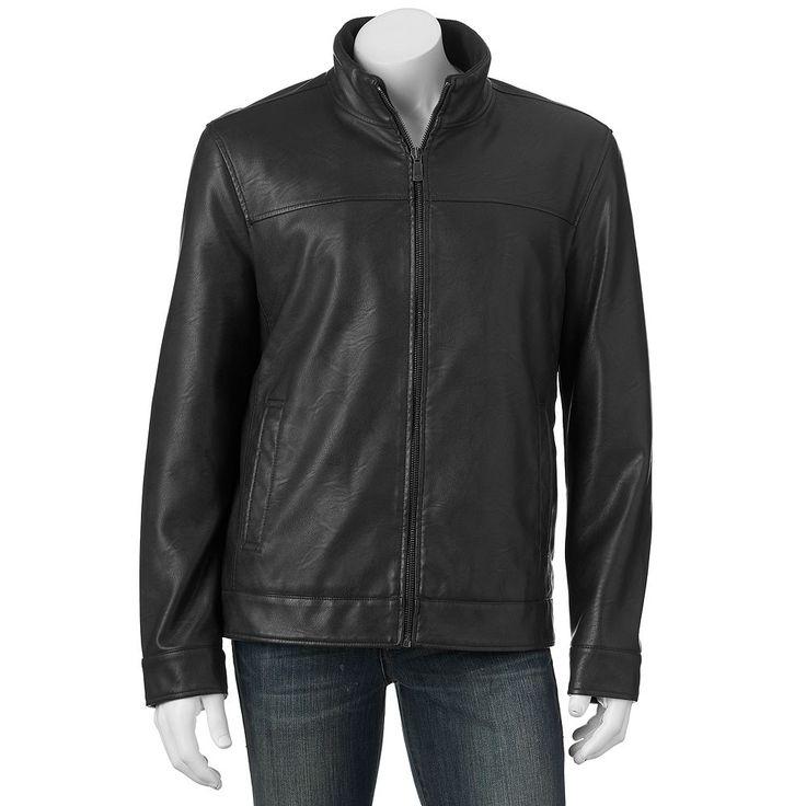 Men's Dockers Faux-Leather Jacket, Size: Medium, Black