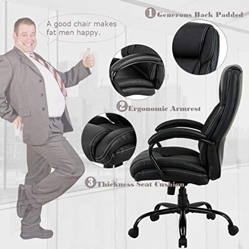 Big And Tall Office Chair 500lbs Cheap Desk Chair Ergonomic Computer Chair High Back Pu Executive Chair With Lumbar Support Headrest Sw