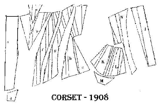Corset pattern from 1908.  The source page has additional diagrams and basic instructions, found here: http://www.marquise.de/en/1900/schnitte/s1900.shtml