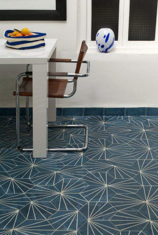 by Claesson Koivisto Rune for Marrakech Design, cement tile Dandelion - marine/bone - 20 x 23 cm hexagon