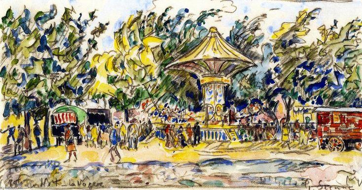 Village Festival (La Vogue), Watercolour by Paul Signac (1863-1935, France)