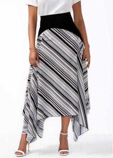 Asymmetric Hem Stripe Print High Waist Skirt.