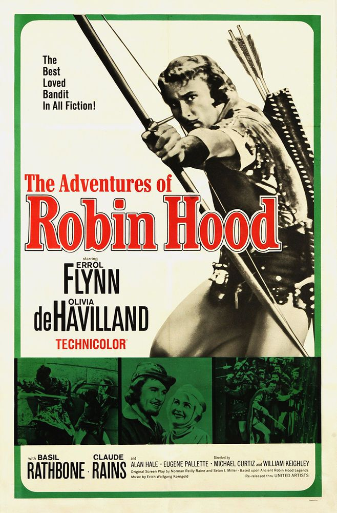 errol flynn/adventures of robin hood | The Adventures of Robin Hood 1964 Original Movie Poster Errol Flynn ...