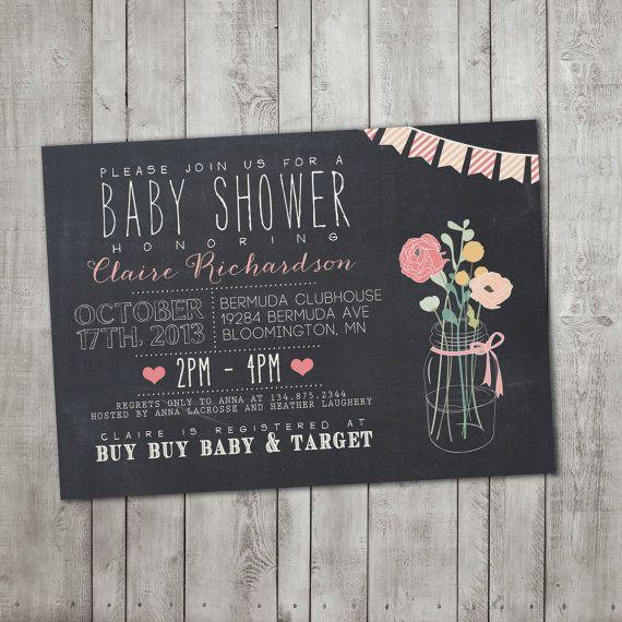 Baby Shower Invitation - Printable, Custom, CHALK, RUSTIC, MODERN, Chalkboard, Vintage, Flowers, Bunting, Mason Jar