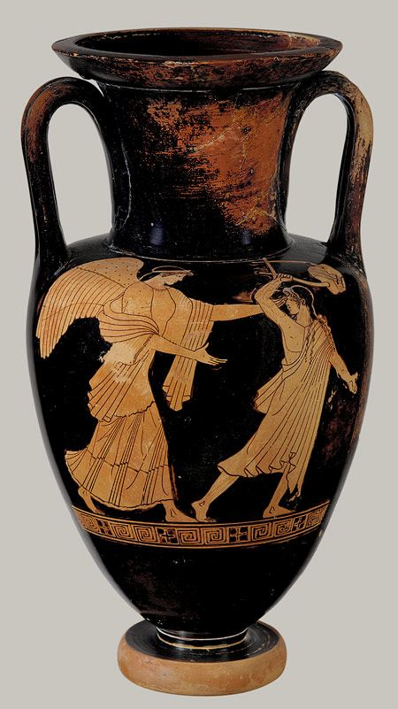 greek terracota amphora black figure painting Terracotta watercolor greek vases on a black background old terracotta amphora with two vector image of ancient greek god of love eros red-figure pottery.
