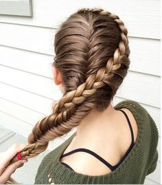Lace braid and french fishtail braid