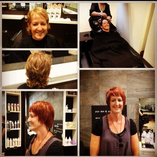 Mother's Day Comp winner, Mel. After undergoing chemotherapy (and a head shave) she is keen to grow her hair out. She get's a minor trim and some vibrant red via Organic Colour Systems.
