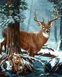 Deer in the snow.