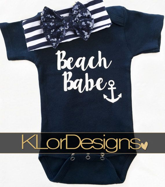 Nautical baby onesie Baby Girl Onesie Beach Babe by KLorDesigns