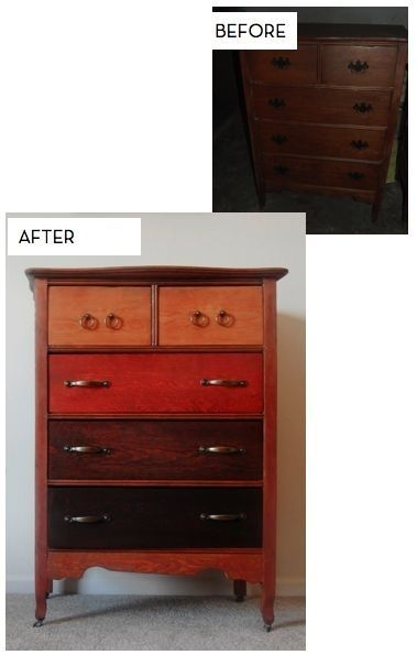 As you organize each room, consider using wood stain in various colors to update a wood dresser or other piece of furniture.