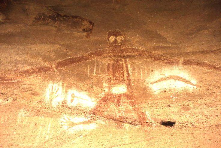 Cave painting of Baiame, Milbrodale NSW.  BaiameCaveBulga0003 - Aboriginal sites of New South Wales - Wikipedia, the free encyclopedia