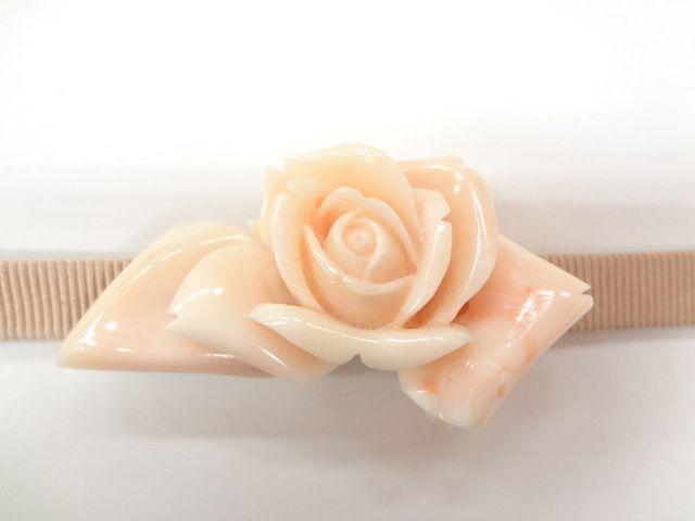 アンティーク 本珊瑚薔薇型帯留(三分紐付き)